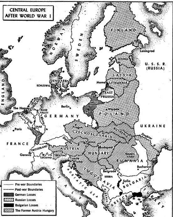 Map Of Europe After Wwi